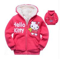 Wholesale Girl Animal Fur Winter Coat - 1pc Retail Baby girls Cartoon Hello Kitty Winter fur coat,children outerwear,girls cotton thick warm hoodies jacket kids clothes