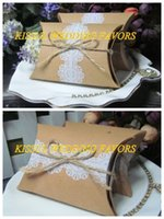 Wholesale Sweet Boxes Cheapest - (250 pcs lot) Cheapest candy box Rustic and Lace Pillow Kraft Wedding favor box for wedding sweet box and Kraft box 2 choices