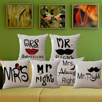 Cotton Linen Cartoon Couple Amoureux Monsieur Madame Souris Throw Pillow Coussin Case Cover Accueil pillowslip cadeau PAR DHL 240494