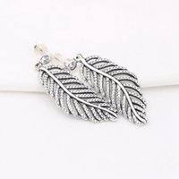 Wholesale European Earrings Silver 925 - Hot Sale Charm Earrings Crystal Feather Authentic 925 Sterling Silver Fashion Women Jewelry European Style For Pandora 026