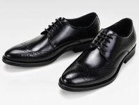 Wholesale chunky black wedges - Luxury quality Men leather dress shoes breatheable holes waxed cow leather Brock Carved Europian fashion Trying best to Gurantee top quality