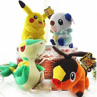 Wholesale Video Game Collectibles - Retail 4 styles 30cm Poki plush toy Pikacho Oshawott Snivy Tepig Cartoon stuffed collectibles dolls kids toys for christmas gifts