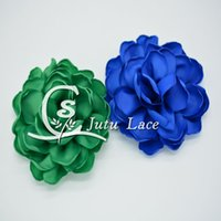 Wholesale Singed Flowers - 3.5 inch singed satin puff flower fabric petals applique flower, Artificial satin fabric rose flower wedding hair accessories on sale