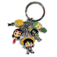 Wholesale One Piece Key Ring - Monkey D Luffy Nico Robin Nami Anime One Piece Color Metal Figure Pendants Keychain Key Ring