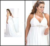 Wholesale Wholesale Plus Size Bridal Gown - New Bridal Gown Chiffon Wedding Dress White Chiffon Manual Nail Bead Spaghetti Straps Plus-Size Wedding Plus Size Wedding Dresses Custom