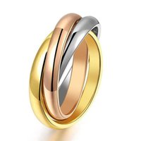 Wholesale Hot Sale Gold 18k - Hot sale Classic Party Finger Ring 3 Rounds 18K Platinum Yellow Gold Plated Fashion Brand Jewelry For Women and Men Gift