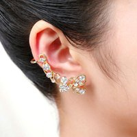 XS Butterfly Crystal Ear Clip para mulheres Fashion Long Unilateral Ear Bones Clip Earrings on Sale Wholesale