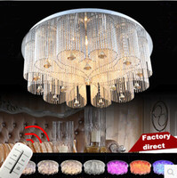accesorios de iluminación de gota al por mayor-Modern Rain Drop Rectangle K9 Crystal Chandelier Lighting Lámparas de pie Flushmount Lámparas de techo redondas para Living Dining Conference
