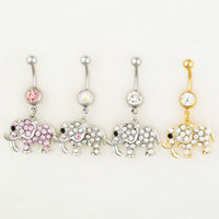Wholesale elephant mix resale online - D0544 colors MIX colors styl belly ring newly nice elephant style Rings Body Piercing Jewelry Dangle Accessories Fashion Charm