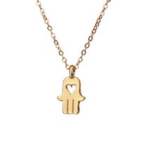 Wholesale Hamsa Heart Necklace - Dogeared Love and Protection Hamsa Charm Necklace Heart Cut Off Hand Pendant Necklaces Clavicle Chains necklace Fashion Women Jewelry