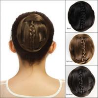 Wholesale Black Hair Extensions Buns - Sara 60g Synthetic Hair Buns Chignon with Braiding Black Brown Clip in Bun Bridal Chignon Hair Extension Hairpieces Bun Non-remy Hair
