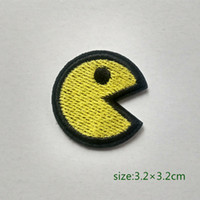 faja de seda dorada al por mayor-Pac man Game Motif Iron On HOTFIX Patch Applique Bordado Cartoon Shirt Kids Toy Gift baby Decora Individualidad