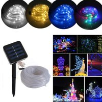 Hada Multicolor Luces Baratos-Multicolor 7M 10M LED Solar Powered impermeable Tubo Flexible hadas de cuerda de cuerda tiras para vacaciones de Navidad al aire libre