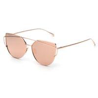 Wholesale Lady Sunglasses Wholesale - Wholesale- 2017 New Cat Eye Sunglasses Women Vintage Fashion Rose Gold Mirror Sun Glasses Metal Frame Ladies Sun glasses Female #OR