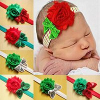 Wholesale Christmas Shabby Flowers - 2016 toddler infant headbands children sequin boutique hair bow shabby flowers baby girls christmas hair accessories