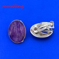 Wholesale Clip Earrings Wholesale Fashion - Ear Cuff Earring Natural Stone Earrings Ear Clip Earrings Oval Silver Plated Ear Accessories European Fashion Jewelry For Women