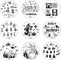 Wholesale Halloween Nail Art Stamps - Dxe Series 60 Images Halloween Christmas Nail Art Stamping Templates Printing Mold Image Printing Transfer Polish Stamp Plates