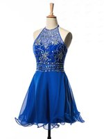 A-line caldo chiffon blu vestito da cocktail 2016 Hot Halter breve mini Backless Prom bordare il vestito da paillettes Cristalli vestito Homecoming