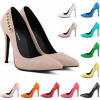 Wholesale Red Plaid Corset - fashion Ladies Super High Heel Pointed Corset Style Work Pumps Court Shoes Patent Metal Chain Us Size 4-11 Shoes Women D0019