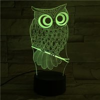 Wholesale Color Changing Table Lamps - New Remote Control 3D Owl Table Lamp USB Colorful 7 Color Change LED Home Party Bedroom Decorative Night Light Gift wn280
