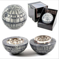 Wholesale Death Stars - Brand new 3 piece Death star grinders 55mm herb grinder PokeBall Grinder Starwars Death Star Round Metal Grinders free shipping