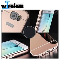 Wholesale Metal Bumpers For Galaxy S3 - Luxury Mirror Aluminium metal Bumper Case For iPhone 5 5S 6 Plus 6S galaxy S3 4 5 S6 S7 edge A5 A3