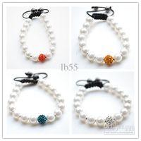 Wholesale High Quality Shamballa Bracelets - best! 4 Mixed Color White Pearl Micro Pave CZ Disco10mm Ball Bead High Quality Micro Pave Crystal Shamballa Bracelet women jewelry hotsale