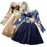 Wholesale girls neck accessories for sale - PrettyBaby new arrival olors kids girls princess dress long sleeves classical flower printed bow accessories