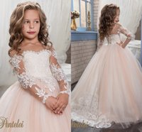 Wholesale Girls Pink Flower Tulle - Princess Vintage Beaded Arabic 2017 Flower Girl Dresses Long Sleeves Sheer Neck Child Dresses Beautiful Flower Girl Wedding Dresses F064