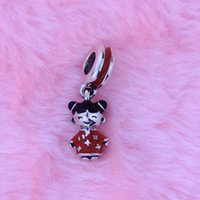 Wholesale Loves Doll Chinese - Loose beads Fit for Pandora Bracelets Authentic 100% 925 Sterling Silver Beads Chinese doll silver dangle with red and black enamel 1PC lot
