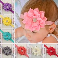 Wholesale Lotus Heads - New Baby Head Flower Hair Band Headbands Lotus leaves Rhinestone Headbands Hair Ornaments Headdress Baby Party Head Flower 13 Colors