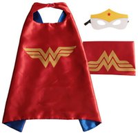 Wholesale Girls Dresses Free Shipping Dhl - US DHL FREE SHIPPING halloween wonder woman costume girls party dresses 70*70 cm double layer cosplay kids superhero capes for girls