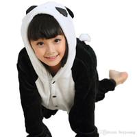 tier-pyjamas für kinder großhandel-Kigurumi Mädchen Pyjamas Panda Trikot / Strampelanzug Festival / Weihnachten Tier Nachtwäsche Halloween Weiß / Schwarz Patchwork Flanell Kigurumi für Kinder