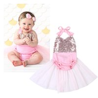 Wholesale One Piec - New Cute Infant INS Baby Princess Pink Sequined Gauze Rompers Dress Toddler Girls Sleeveless Jumpsuits Sequin Lace Newborn Onesies One-Piec