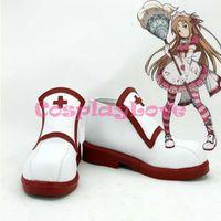 Wholesale Asuna Yuuki Cosplay Sword - Wholesale-Custom Made Japanese Anime SAO Sword Art Online Season One Cosplay Yuuki Asuna Women's Shoes Boots For Christmas Halloween