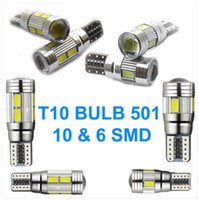Wholesale Green Hid Bulbs - 100PCS T10 501 W5W CAR SIDE LIGHT BULBS ERROR FREE CANBUS 6 & 10SMD LED XENON HID WHITE wholesale price