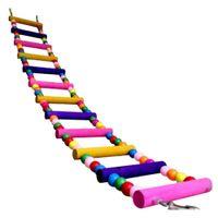 Wholesale Macaw Pets - Wholesale-Funny Colorful Wooden Pet Bird Toys Ladder Climb Parrot Drawbridge Bridge Macaw Cage Swing Shelf Singing Parrot Bites Toy PT0113