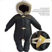 Wholesale Baby Boy Down Snowsuit - Wholesale-New2016 Baby Snowsuit Down Coat Romper Newborn Snowsuit Snow Wear Down Jacket Outwear Winter Warn Black Baby Clothing Coveralls