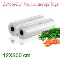 Wholesale Vacuum Compression - (2 Pieces Lot ) PA+PE Portable Handy Rolls Vacuum Food Saving Storage Bags Sealing Sealer Keep Food Fresh 36#_12*500 cm