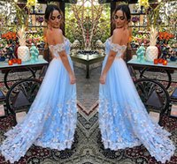 Wholesale Green Butterfly Pictures - Fairy Light Blue Tulle Evening Dresses Off Shoulder Pleated Butterfly Appliques Backless Formal Evening Gowns Prom Dresses Sweep Train