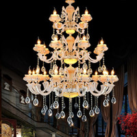 Wholesale Large Iron Pendant Light - 24 lights XL large modern Living room chandelier pendant light Golden star luxury for Led lamps ceiling lamps grand church hotel chandelier