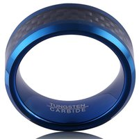 Wholesale Ring Brushed - Tungsten Carbide Ring For Men 8MM Blue Plated Inlay Black Carbon Fiber Brushed Beveled Edges on Sale Size 7#-13#