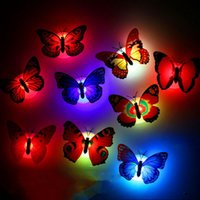 Wholesale Glow Sticks Butterflies - Mini LED Night Light LED Butterfly Stick-On Wall Lamps butterfly Glowing Decorations for Halloween Christmas C3287