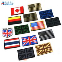 Wholesale Country Patch - Countries flags America USA UK flag patch armband embroidered cloth standard customized Britain and Germany design Badges With Magic stick