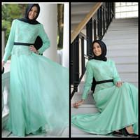 Wholesale Wedding Dresses For Hijab - 2016 Mint Green Muslim Wedding Dress With Lace Long Sleeve Hijab For Bridal Women Chiffon Dubai Arabic Formal Gown