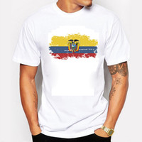 Wholesale flag football shirts - Ecuador Flag Men T shirts Round collar Football Fans Nostalgia Ecuador Flag Summer Style Sports Fitness T-shirts Men Clothing