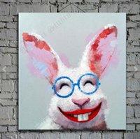 coelho mãos livres venda por atacado-Coelho animal emoldurado, pintado à mão pura Pop art dos desenhos animados pintura a óleo em alta qualidade.Multi tamanhos disponíveis frete grátis springgalle