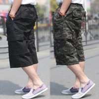 Wholesale Yellow Cargo Shorts Mens - Mens clothing Men shorts Pockets Cargo shorts Plus size Camo casual hiphop loose cotton twill Zippers elastic waist young black