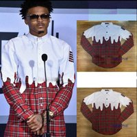 Wholesale Men High Collar T Shirt - New Extended Fashion Men Plaid T-shirt Style High Quality Man Swag T-Shirt Hip Hop Men Streetwear Hem Patchwork Plaid Red