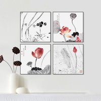 Wholesale Chinese Ink Paintings Lotus - Modern Abstract Traditional Chinese Ink Beautiful Lotus Canvas Art Print Poster Wall Picture Living Room Decor Painting No Frame